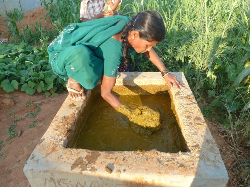 une femme alimente un biogesteur en Inde