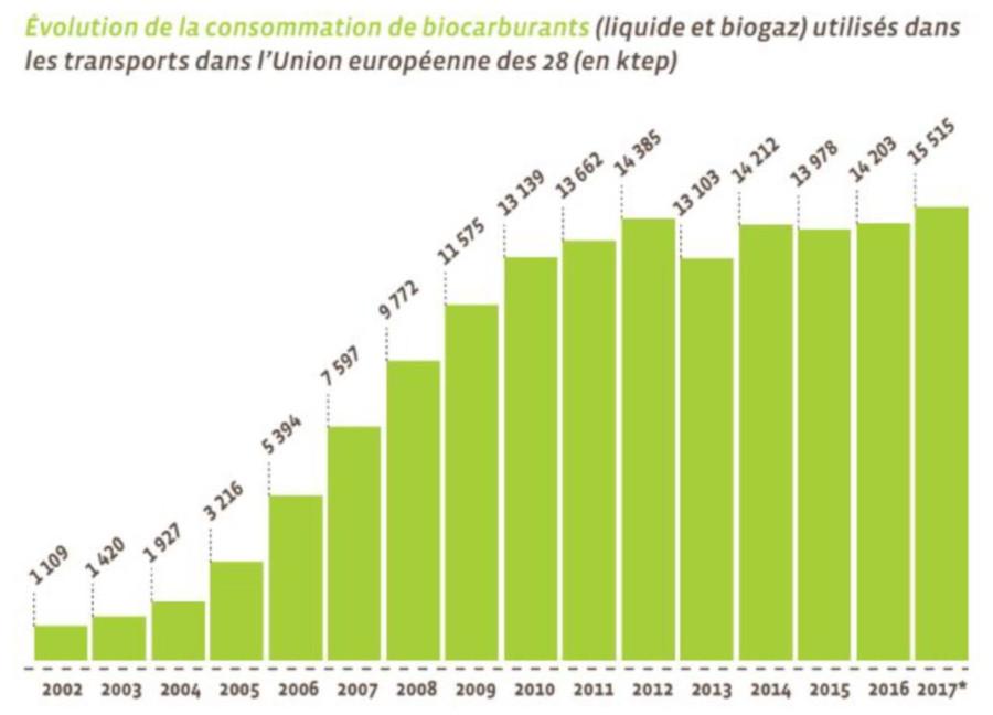 consommation de biocarburants dans les transports européens