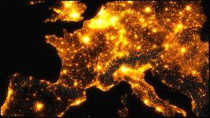 Carte montrant la pollution lumineuse en Europe © Frédéric Tapissier, Avex