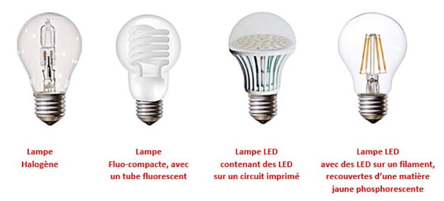 Lampe halogène; lampe fluo compacte; lampe LED