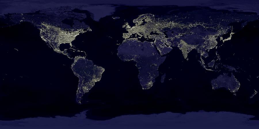La Terre de nuit, vue de l'espace