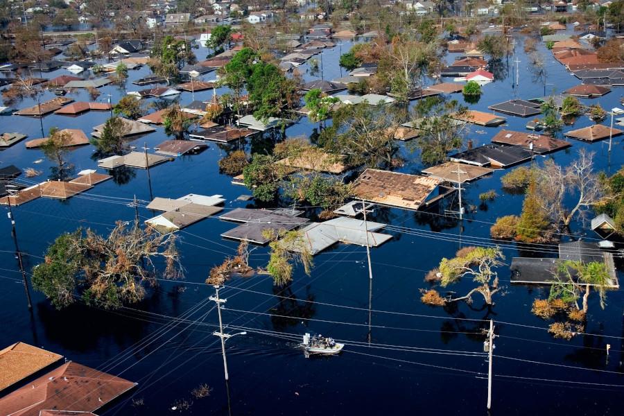 Une ville de Louisiane après le passage de l'ouragan Kathrina en 2005.