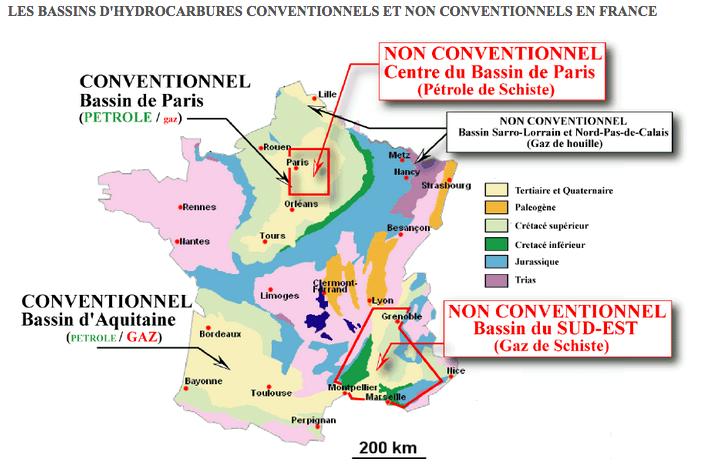 Les réserves estimées de pétrole et de gaz de schiste en France